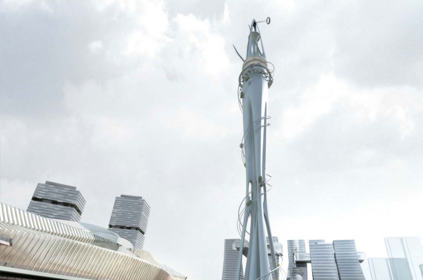 artist impression of vertical theme park in Dalian
