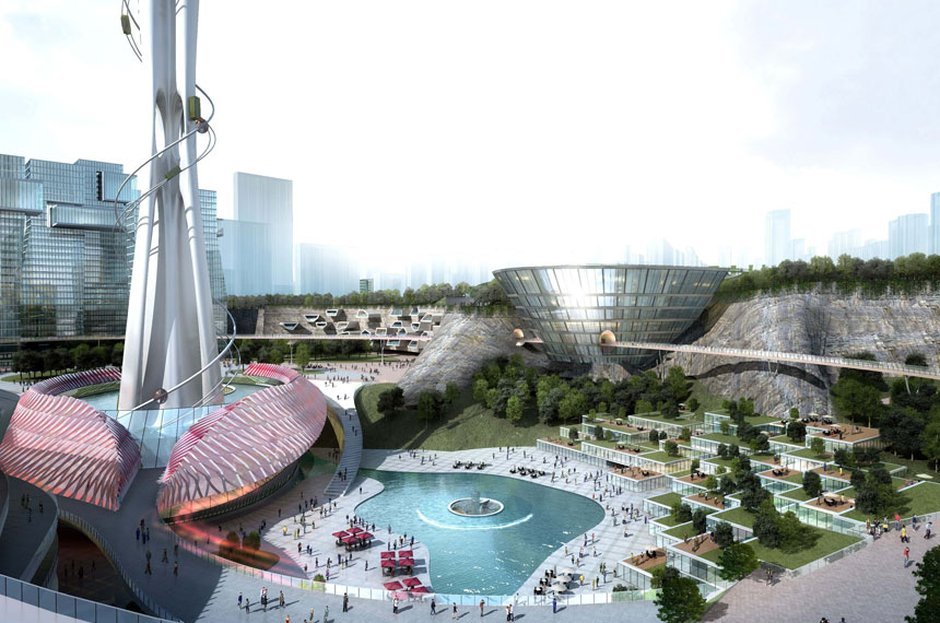 artist impression of Dalian vertical theme park base and pool
