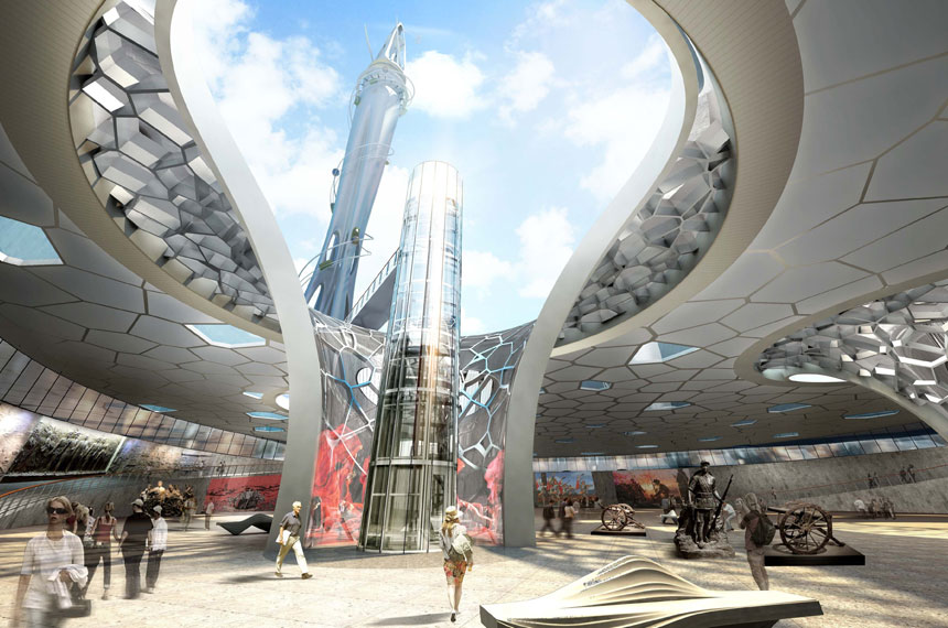 artist impression of the inside of Dalian Vertical Theme Park
