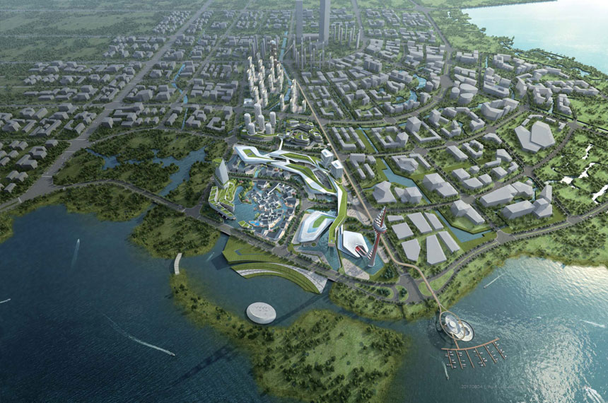Wuxi Vertical Theme Park, artist impression, aerial view