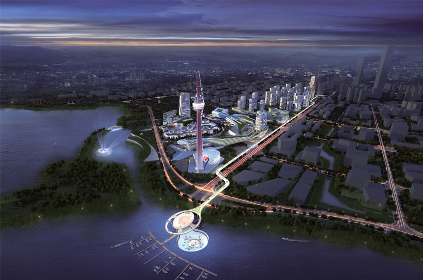 Wuxi Vertical Theme Park at night, artist impression